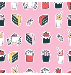 Cute food cake muffin cupcake strawberry delicious vector image