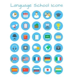 Language school flat education icons vector