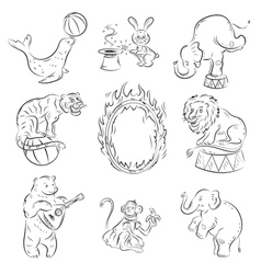 circus animals vector image