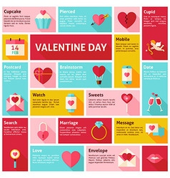Flat Design Icons Infographic Valentine Day vector image