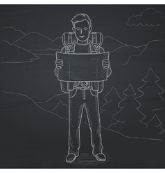 Backpacker looking at map vector