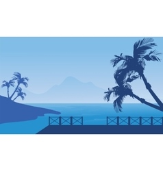 Blue silhouette of seaside scenery vector