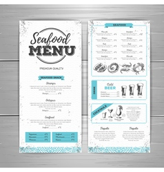 Vintage seafood menu design vector