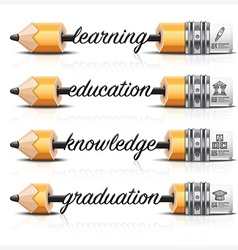 Education and learning with carve lead pencil step vector
