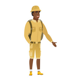 African-american traveler with hand in his pocket vector