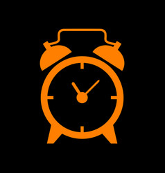 Alarm clock sign orange icon on black background vector