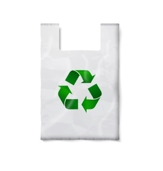 Blank plastic bag with green recycling sign vector