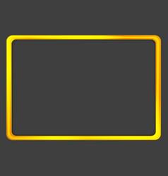 bright orange golden neon frame on dark background vector image vector image