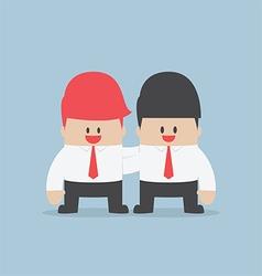 Businessman embrace his partner team work concept vector