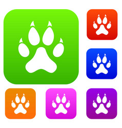 cat paw set color collection vector image