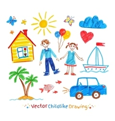 Childlike drawing set vector image