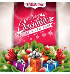 Christmas with typographic design vector image vector image