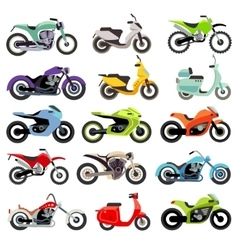 Classic motorcycle motorbike flat icons vector