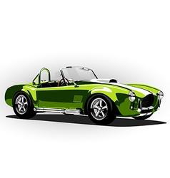 Classic sport car cobra roadster green vector