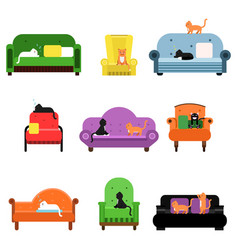 cute happy cats sitting and lying on a sofa set of vector image