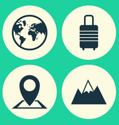 Exploration icons set collection of mount vector