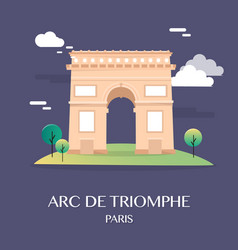 Famous landmark arc de triomphe paris france vector