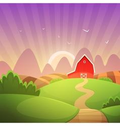 Farm landscape vector
