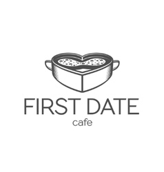 First date cafe logo vector image vector image