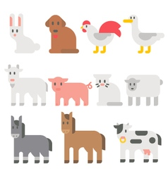 Flat design farm animal set vector image vector image