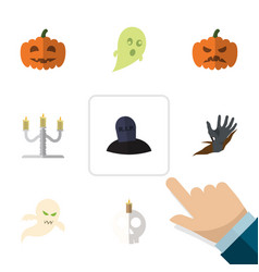 Flat icon celebrate set of pumpkin candlestick vector