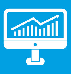 Growth graph on the computer monitor icon white vector