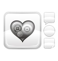 Happy valentines day romance love heart silver vector