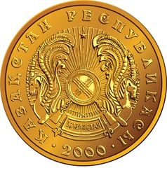 Kazakh money gold coin vector image vector image