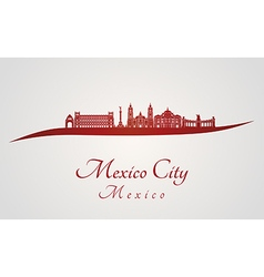 Mexico city skyline in red vector