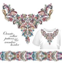 Neckline embroidery fashion print decor lace vector image vector image