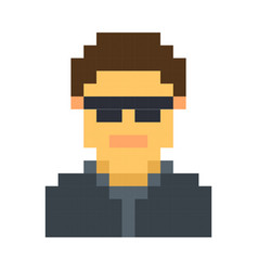 pixel avatar male cartoon retro game style vector image vector image