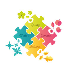 seasons puzzle infographic - spring summer autumn vector image vector image