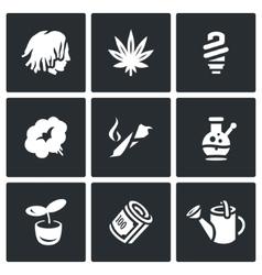 Set of Rastaman Icons Dreadlocks vector image