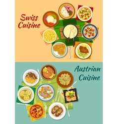 Swiss and austrian cuisine popular dishes icon vector