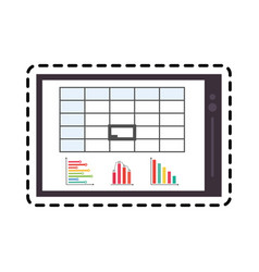 Tablet with graph chart icon image vector