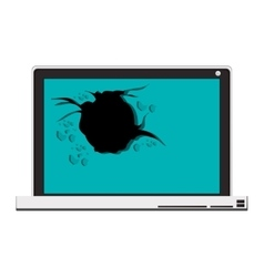 tech laptop with broken screen vector image