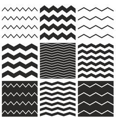 Tile chevron pattern set with black zig zag vector