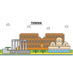 tunisia outline city skyline linear vector image vector image
