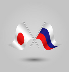 Two crossed japanese and russian flags vector