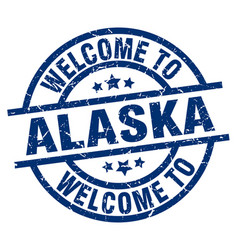 Welcome to alaska blue stamp vector