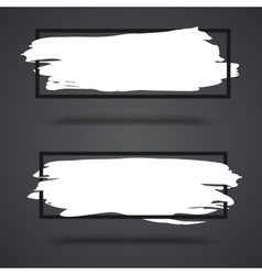 White grunge banners on dark background with vector image vector image