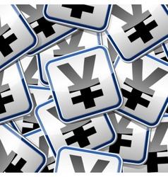 Yen money sticker symbols vector