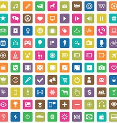 100 entertainment icons vector image