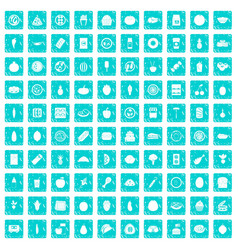 100 nutrition icons set grunge blue vector image