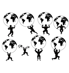 Strong man lifting earth vector