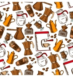 Coffee pots and cups seamless pattern vector image