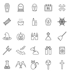 Halloween line icons on white background vector