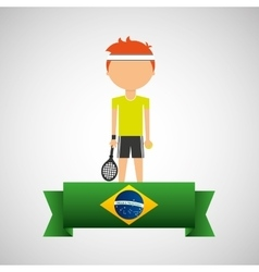 cartoon tennis player brazilian label vector image
