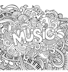 Music hand lettering and doodles elements vector