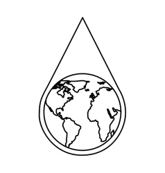 water drop with earth planet vector image